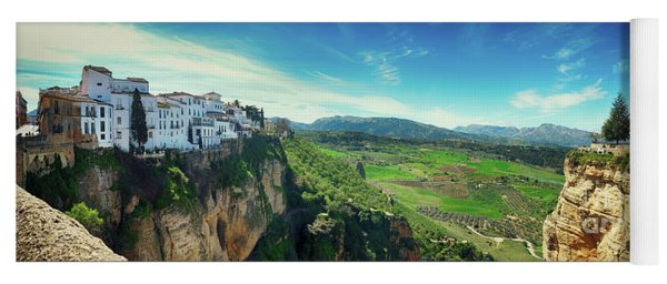 panorama of  historical village of Ronda, Spain Yoga Mat