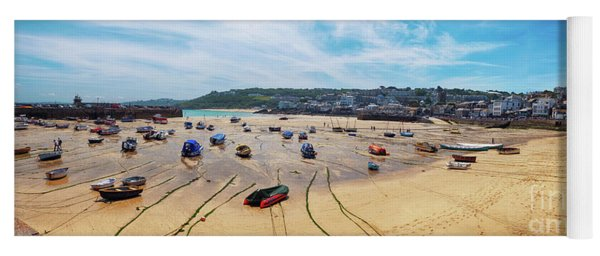 panorama of St.Ives beach, Cornwall  Yoga Mat