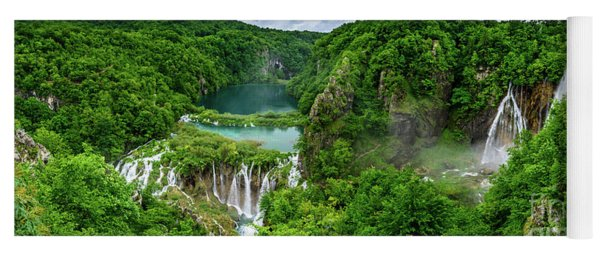 Panorama Of Turquoise Lakes And Waterfalls - A Dramatic View, Plitivice Lakes National Park Croatia Yoga Mat