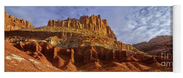 Panorama The Castle On A Cloudy Morning Capitol Reef National Park Yoga Mat
