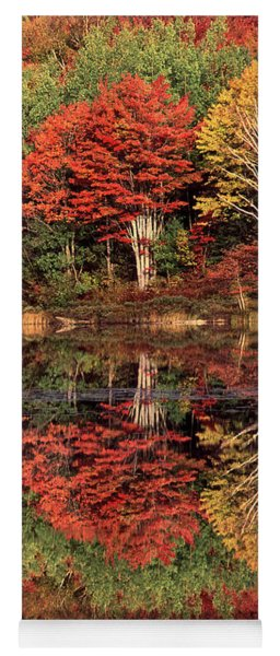 Panoramic Fall Color Thorton Lake Upper Penninsula Michigan Yoga Mat