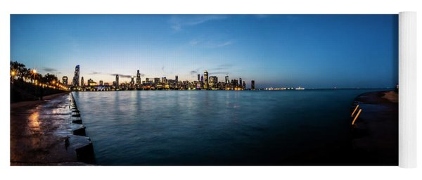 Panoramic Look At The Chicago Skyline At Dusk  Yoga Mat