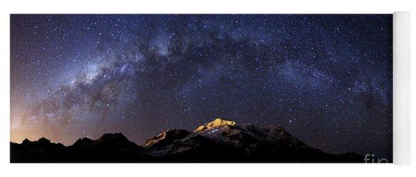 Panoramic Of Milky Way Above Mt Huayna Potosi Bolivia Yoga Mat