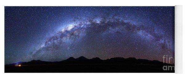 Panoramic Of Milky Way Above Payachatas Volcanos Yoga Mat