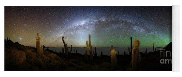 Panoramic Of Milky Way And Incahuasi Island Yoga Mat