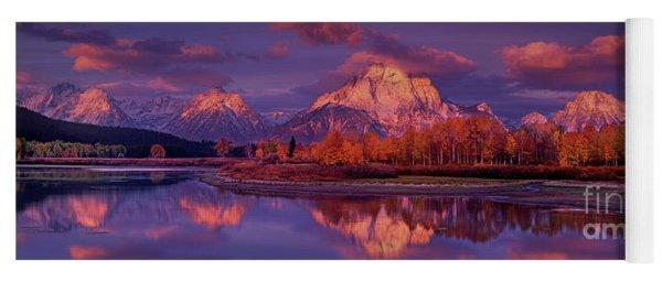 Panoramic Sunrise Oxbow Bend Grand Tetons National Park Yoga Mat