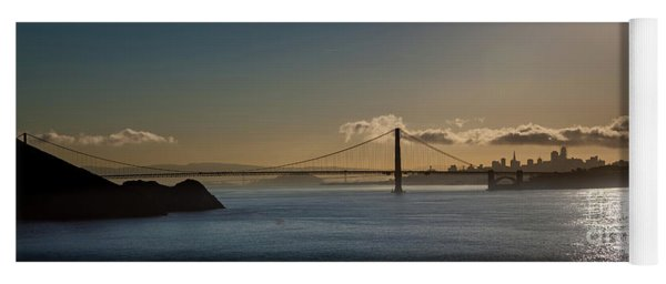 Panoramic View Of Downtown San Francisco Behind The Golden Gate  Yoga Mat