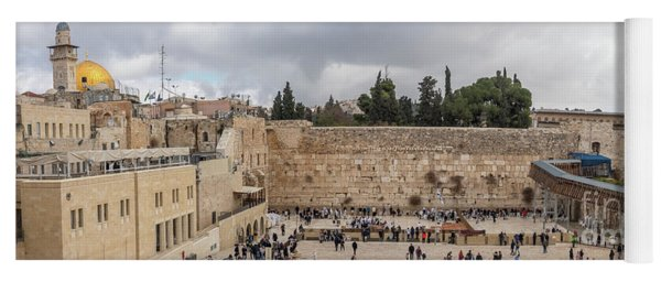 Panoramic View Of The Wailing Wall In The Old City Of Jerusalem Yoga Mat