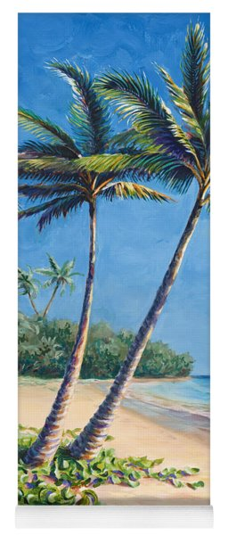Tropical Paradise Landscape - Hawaii Beach And Palms Painting Yoga Mat