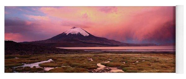 Parinacota Volcano And Lake Chungara At Sunset Yoga Mat