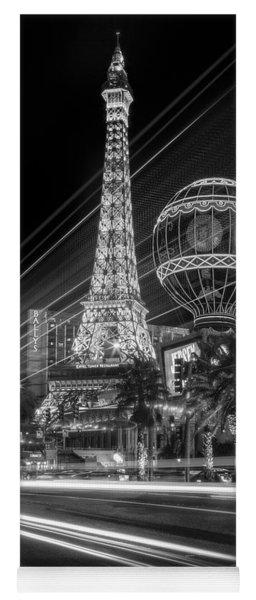 Paris In Las Vegas Strip Light Show Bw Yoga Mat