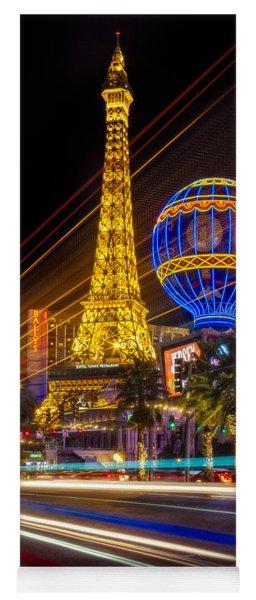 Paris In Las Vegas Strip Light Show Yoga Mat