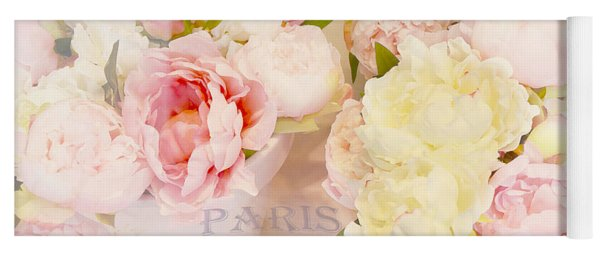 Paris Peonies Pink Yellow Peonies Floral Art - Dreamy Shabby Chic Paris Pink Yellow Peony Flowers Yoga Mat