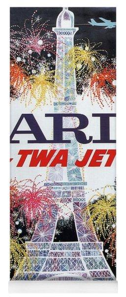 Paris - Twa Jets - Trans World Airlines - Eiffel Tower - Retro Travel Poster - Vintage Poster Yoga Mat