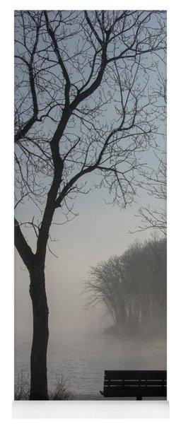 Park Bench In Morning Fog Yoga Mat