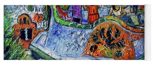 Park Guell Memories - Barcelona Impression Palette Knife Oil Painting Yoga Mat