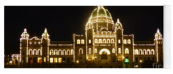 Parliament Building At Night - Victoria British Columbia Yoga Mat