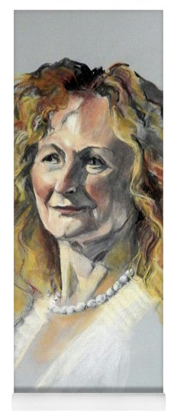 Pastel Portrait Of Woman With Frizzy Hair Yoga Mat