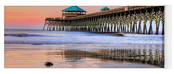 Pastel Sunrise On Folly Beach Pier In Charleston South Carolina Yoga Mat
