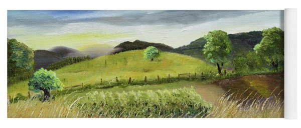 Yoga Mat featuring the painting Pasture Love At Chateau Meichtry - Ellijay Ga by Jan Dappen