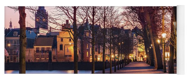 Yoga Mat featuring the photograph Path By A Pond - The Hague by Barry O Carroll
