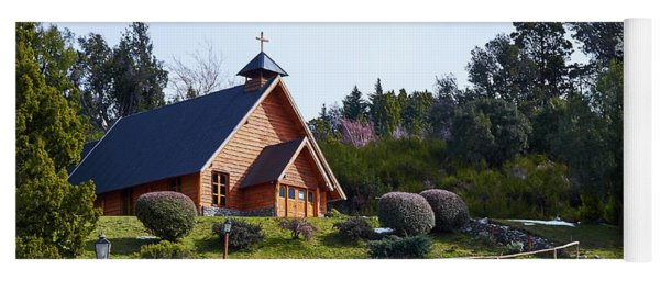 Rustic Church Surrounded By Trees In The Argentine Patagonia Yoga Mat
