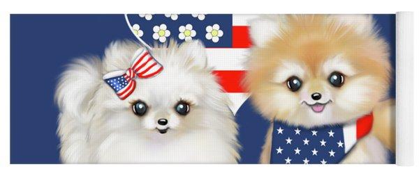 Patriotic Pomeranians Yoga Mat