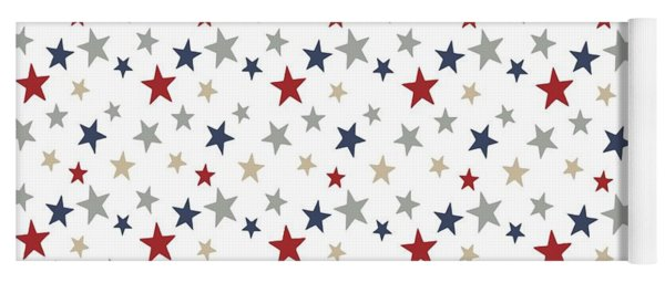 Patriotic Stars Red White Blue Repeating Pattern Vector Yoga Mat
