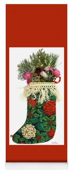 Patterned Christmas Stocking With Flowers Yoga Mat