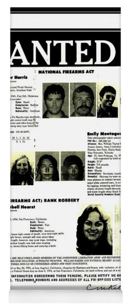 Patty Hearst Symbionese Liberation Army Wanted Poster September 1974 Yoga Mat