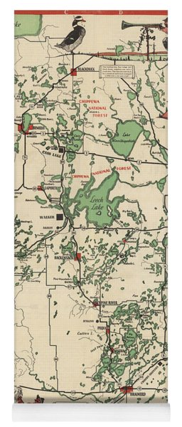 Paul Bunyan's Playground - Northern Minnesota - Vintage Illustrated Map - Cartography Yoga Mat