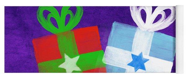 Peace And Joy- Hanukkah And Christmas Card By Linda Woods Yoga Mat