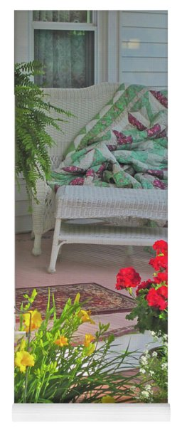 Yoga Mat featuring the photograph Peaceful Porch In A Small Town by Nancy Lee Moran