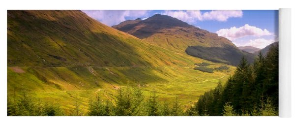 Peaceful Sunny Day In Mountains. Rest And Be Thankful. Scotland Yoga Mat