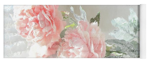 Peach Peonies Impressionistic Peony Floral Prints - French Impressionistic Peach Peony Prints Yoga Mat