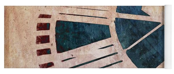 Yoga Mat featuring the photograph Peach Pink And Night Blue Clock Face by Marianna Mills