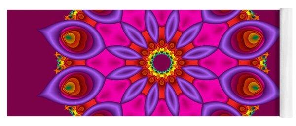 Peacock Fractal Flower II Yoga Mat