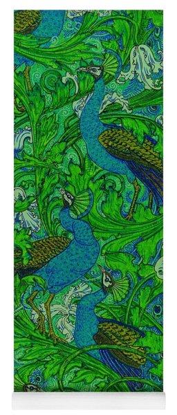 Peacock Garden Victorian Art Nouveau Print Yoga Mat