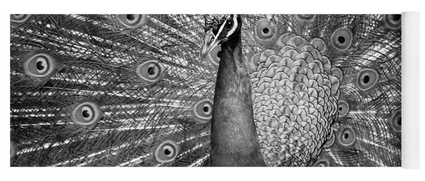 Peacock In Black And White Yoga Mat