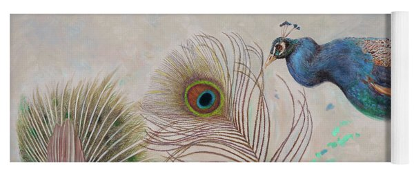 Yoga Mat featuring the painting Peacock In Three Views by Nancy Lee Moran