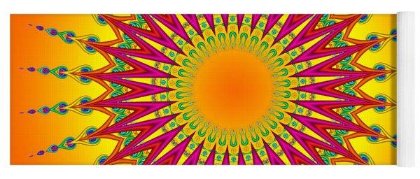 Peacock Sun Mandala Fractal Yoga Mat