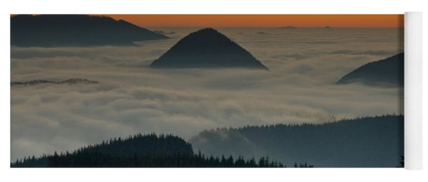 Peaks Above The Fog At Sunset Yoga Mat