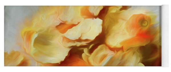 Yoga Mat featuring the mixed media Peeled Orange Composition 1 by Lynda Lehmann