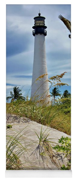 Pelican Flying Over Cape Florida Lighthouse Yoga Mat