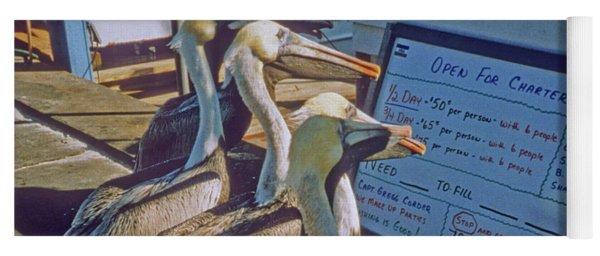 Pelicans And The Menu Yoga Mat