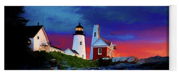 Pemaquid Lighthouse At Dawn Artistic Panorama Yoga Mat