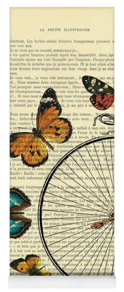 Penny Farthing With Butterflies Yoga Mat