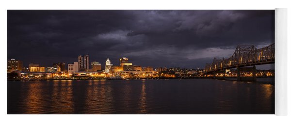 Yoga Mat featuring the photograph Peoria Stormy Cityscape by Andrea Silies