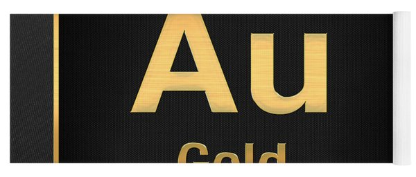 Periodic Table Of Elements - Gold - Au - Gold On Black Yoga Mat