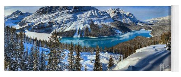Peyto Lake Winter Panorama Yoga Mat